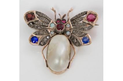 Multi Stone Bug Brooch