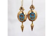 Enamel, Coral and Pearl Drop Earrings