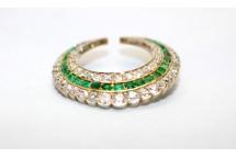 Emerald & Diamond Crescent Brooch