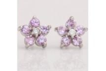 Pink Sapphire and Diamond Stud Earrings