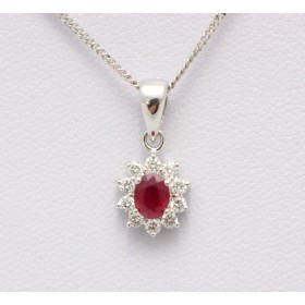Ruby and Diamond Cluster Pendant