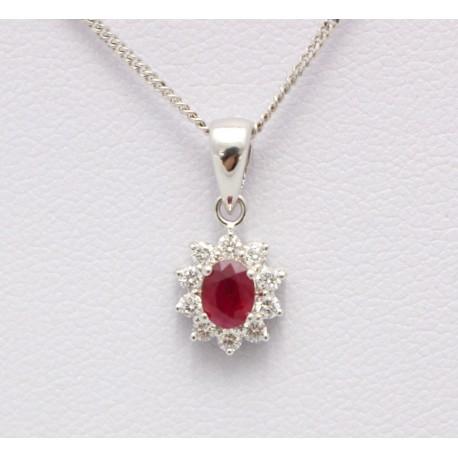 9bc5e99561fa ruby and diamond pendant set in 18ct white gold