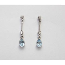Aquamarine and Diamond Drop Earrings