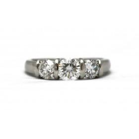 Three Stone Diamond Platinum Ring
