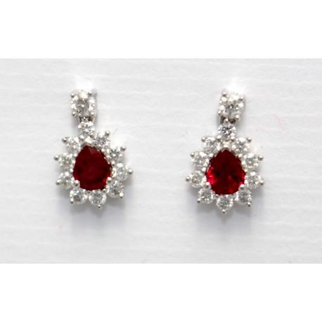 Ruby & Diamond Drop Earrings