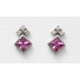 Pink Sapphire and Diamodn Stud Earrings