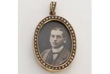 Oval Pearl Portrait Locket