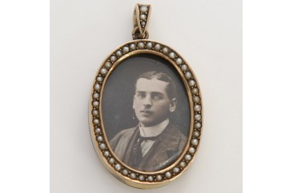 Oval Pearl Portrait Locket