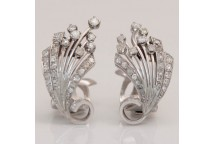 Diamond Spray Clip Earrings