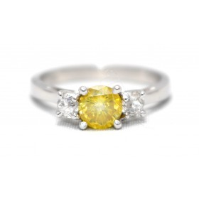 Yellow Diamond Three Stone Ring