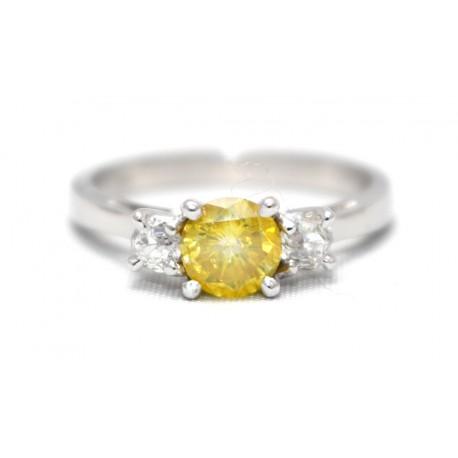Yellow Diamond Three Stone Ring