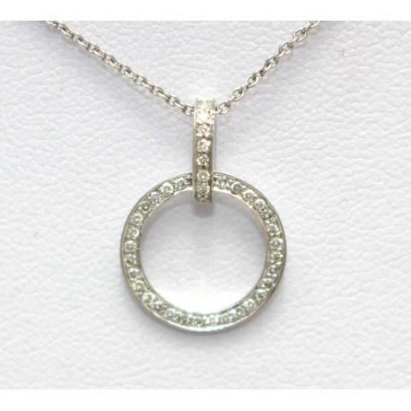 Diamond pendant 9ct white gold diamond round pendant mozeypictures Gallery