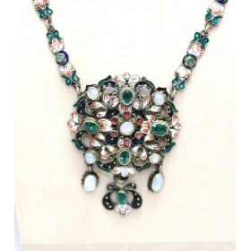 Emerald and Pearl Enamel Pendant