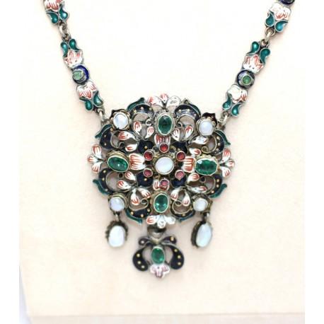 Emerald and Pearl Enamel Pendant