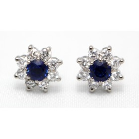 Sapphire and Diamond Stud Earrings
