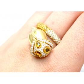 Orange Sapphire and Diamond Cluster Ring