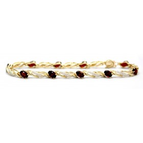 Garnet and Diamond Gold Bracelet