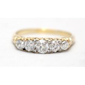 Carved Half Hoop Diamond Ring
