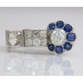 Sapphire and dimaond ring