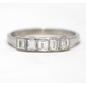 Baguette Cut Five Stone Diamond Ring