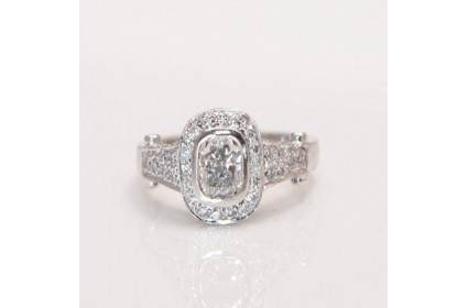 Cushion Cut Diamond Surround Ring