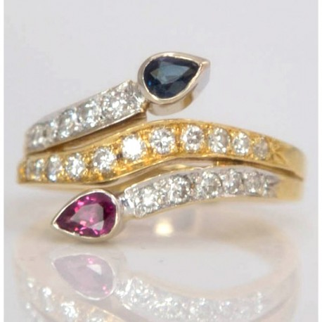 Ruby & Sapphire Snake Ring