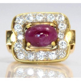 Cabochon Ruby and Diamond Dress Ring