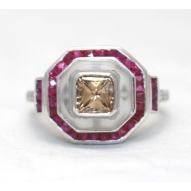 Champagne Diamond and Ruby Ring