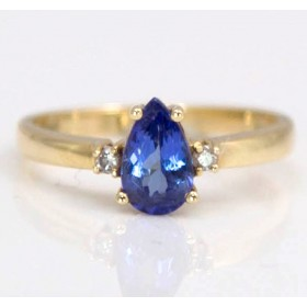 Pear Shaped Sapphire & Diamond Ring