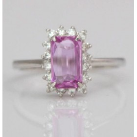 Step-cut Pink Sapphire Cluster