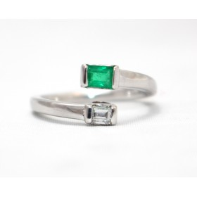 Diamond and Emerald Two Stone Ring