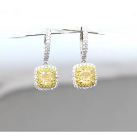Yellow Diamond Cluster Drop Earrings