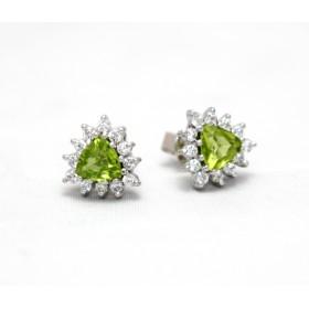Peridot and Diamond Cluster Stud Earrings