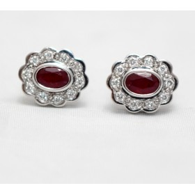 Ruby and Diamond Cluster Stud Earrings