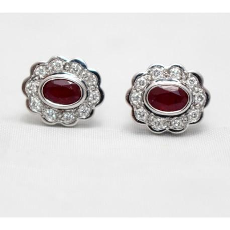 Ruby and Diamond Cluster Stud Earrings