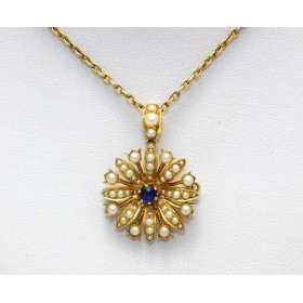 Sapphire and Pearl Pendant