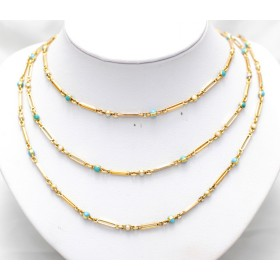 Gold turquoise and pearl, three row necklace