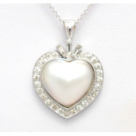 Heart Shaped Pearl and Diamond Pendant