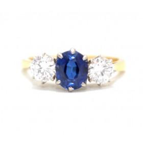 Sapphire and Diamond Three Stone Ring