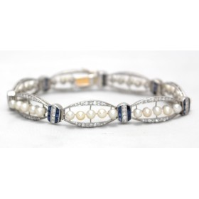 Edwardian Diamond, Sapphire and Pearl Bracelet