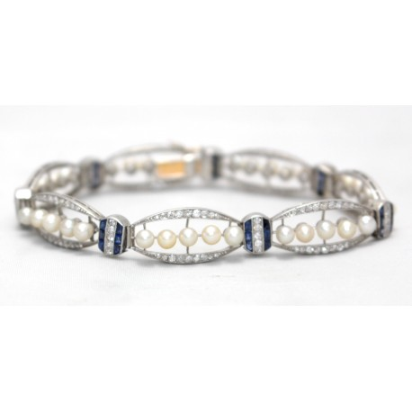 Edwardian Diamond, Sapphire and Pearl Bracelet