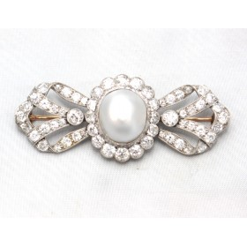 Pearl and Diamond Bow Brooch