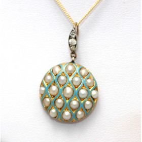 Enamel and Pearl Locket