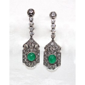 Art Deco Emerald Drop Earrings