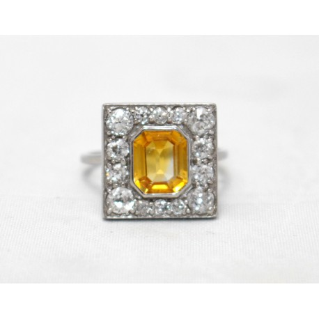 Yellow Sapphire Art Deco Cluster Ring
