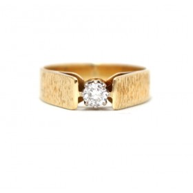Diamond Solitaire Ring with a Bark Finish Shank