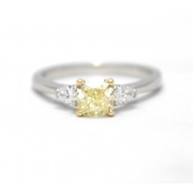 Certificated Yellow Diamond Three Stone Ring