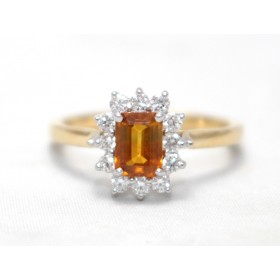 Orange Sapphire Cluser Ring