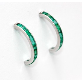 Emerald Half Hoop Earrings