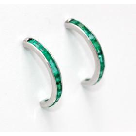 Emerald Half Hoop Earrings
